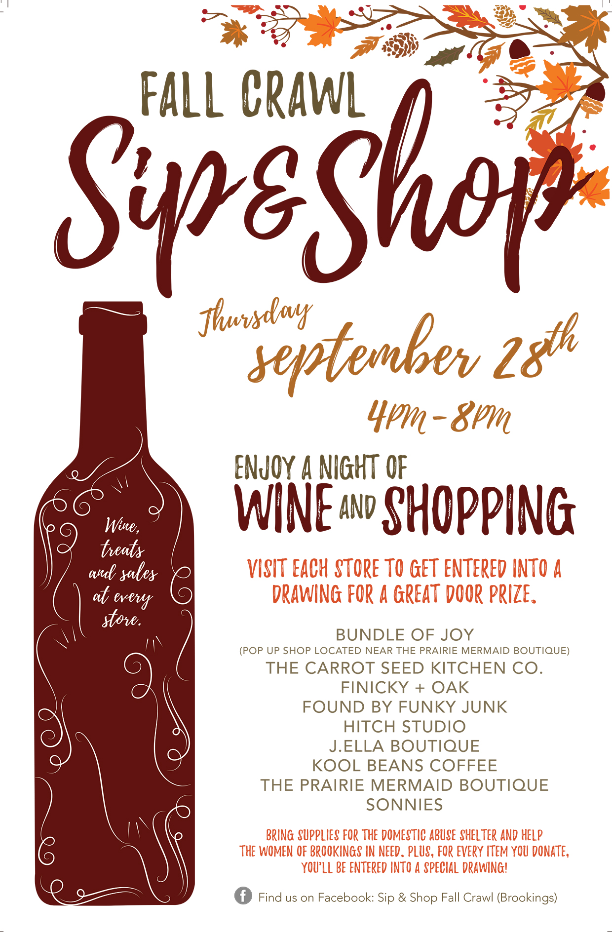 Downtown Brookings Shopping Event Sip  Shop Fall Crawl