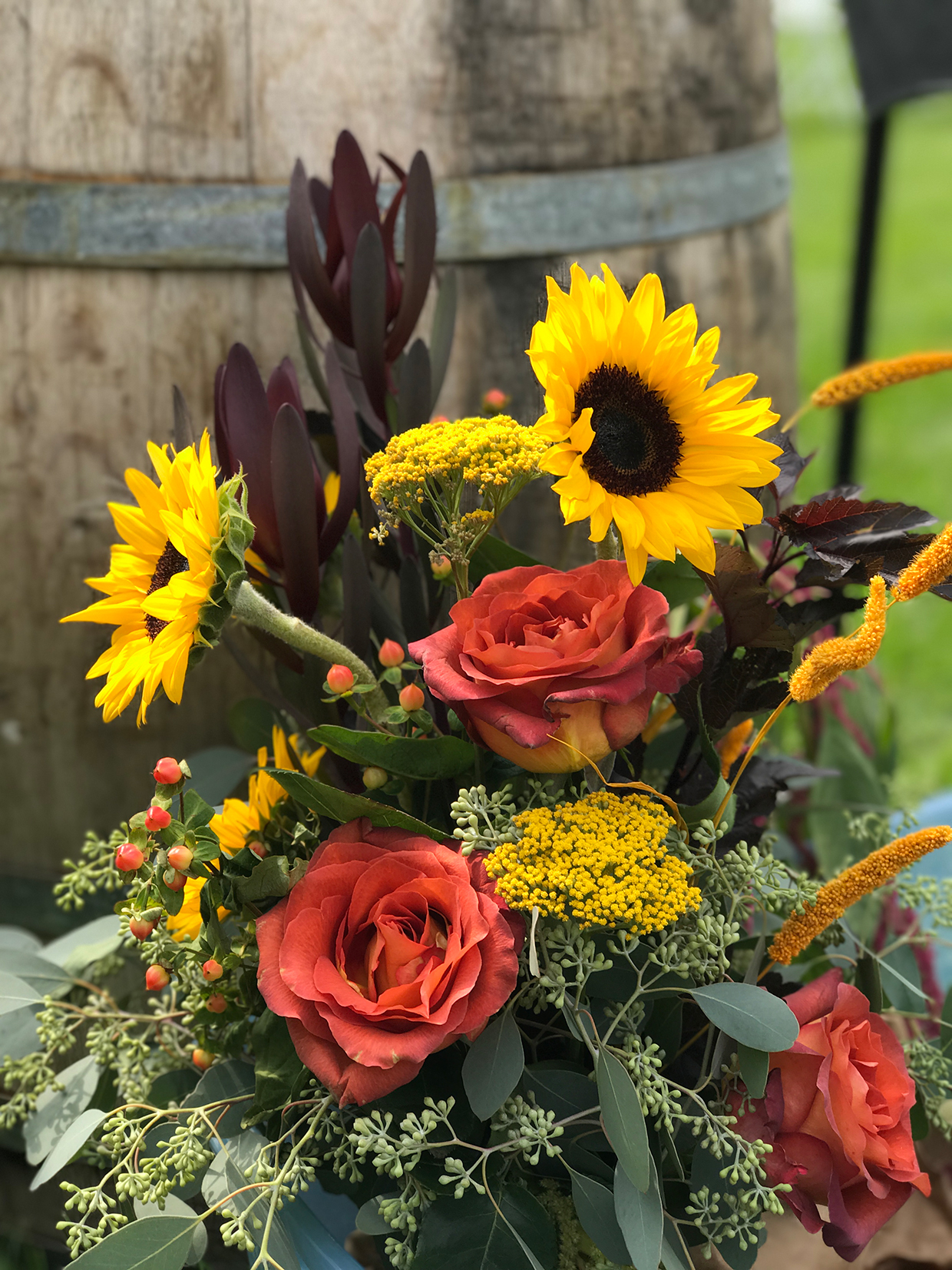 Outdoor Wedding full of Sunflowers Burgundy and Perfect Weather  Hitch Studio
