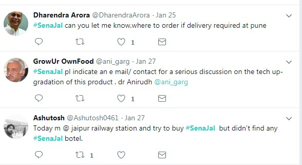 Sena Jal Packed Bottle Discussion on Twitter