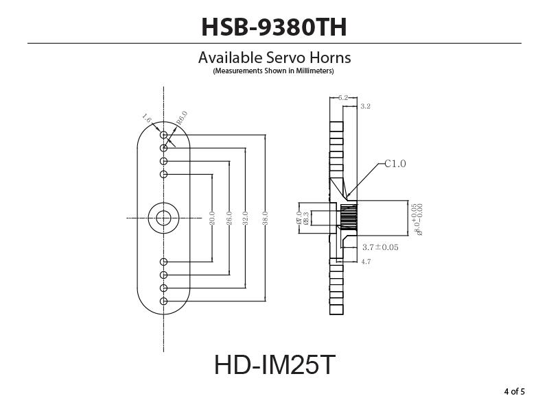 HSB-9380TH Ultra Torque, Brushless, Titanium Gear Servo