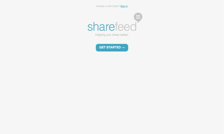 sharefeed landing page