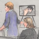 Dzhokhar Tsarnaev giving the middle finger to a courthouse