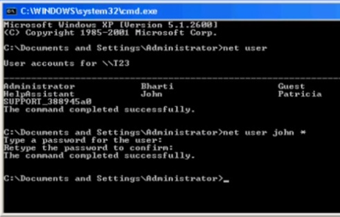 How to reset windows password using command line