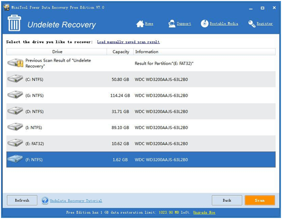 MiniTool Power Data Recovery 7.0 Free Edition