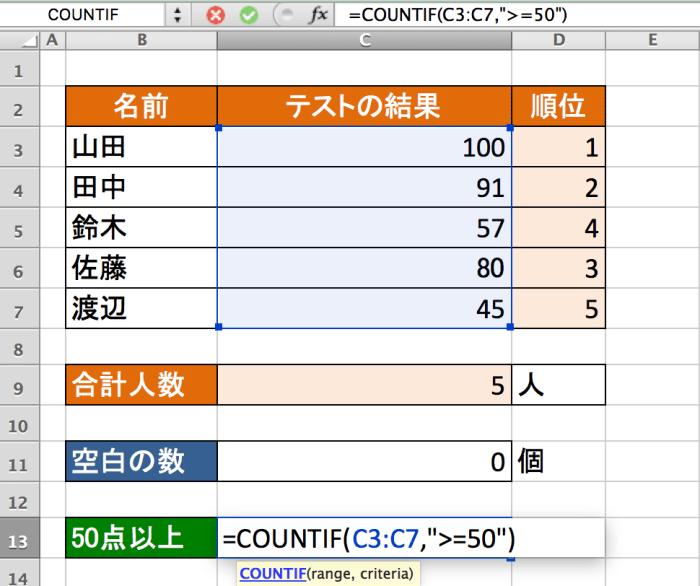 Excel関数 関数 COUNTIF関数2