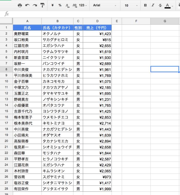 スプレッドシート SORT関数01