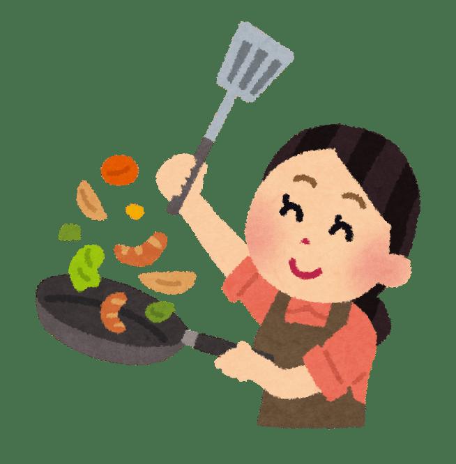 フライパンで料理する女性