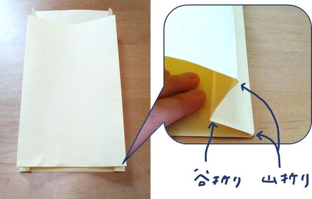 マチ付き紙袋の作り方③両脇を折り込む
