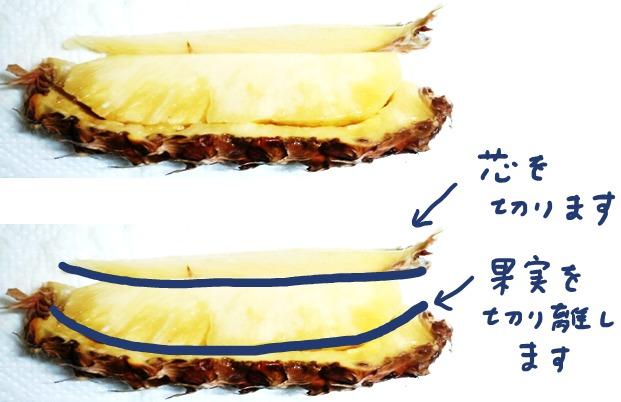 パイナップルの切り方③
