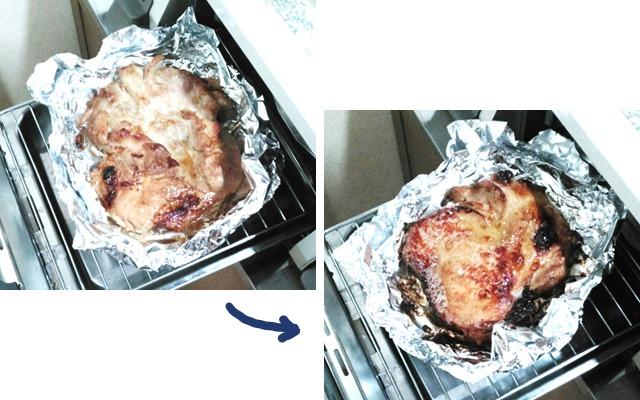 ②魚焼きグリルで皮を焼く