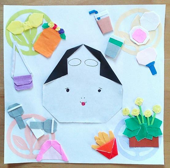 びじゅチューン!「小面の休日」イメージの折り紙ともんきりあそび