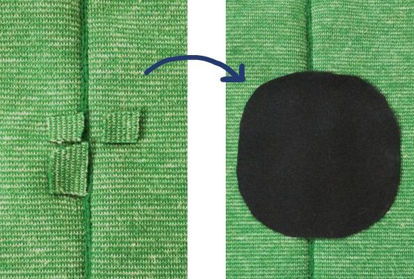 共布を置いて補修クロスを重ねます