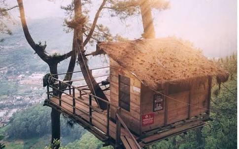 (Nuansa pagi di Omah Kayu Rumah Pohon Batu Malang - Simplyecho.net)