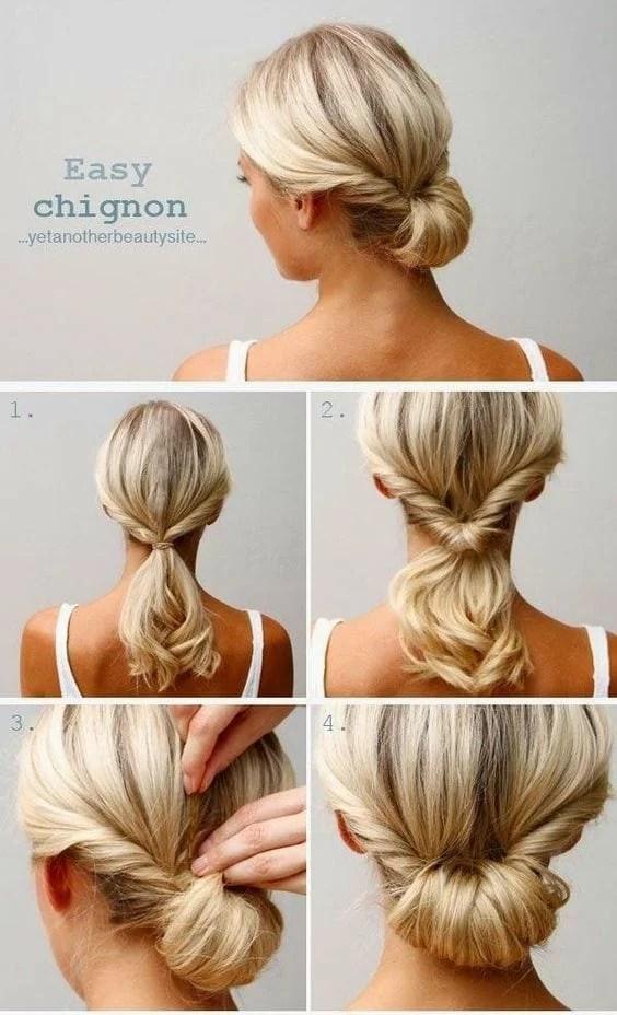 Easy Chignon Hair Tutorial. Pinterest