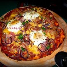 Пица с бекон и яйце...