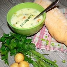 супа от пресни картофи и грах