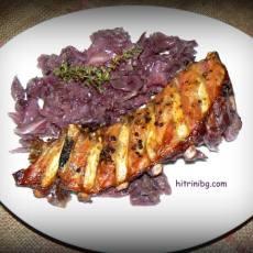 Свински ребра с лилаво зеле