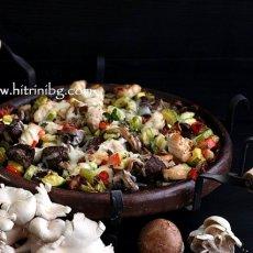 Пилешки сач със зеленчуци