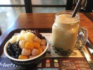 「MeetFresh 鮮芋仙」の芋園とタピオカミルクティー