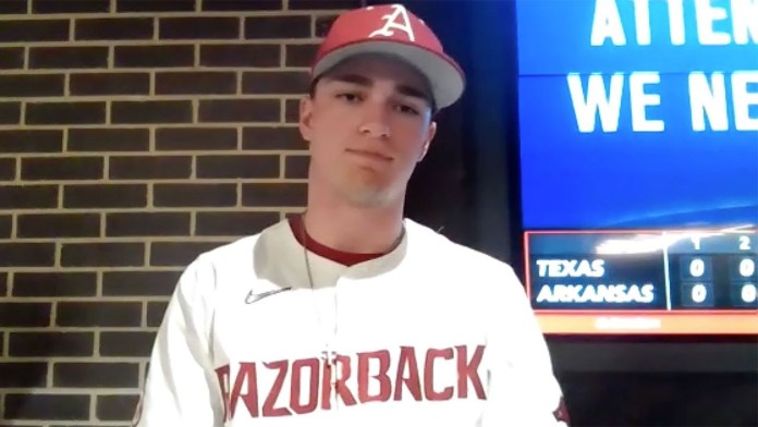 Slavens after driving in all four runs to lift Razorbacks over Longhorns, 4-0