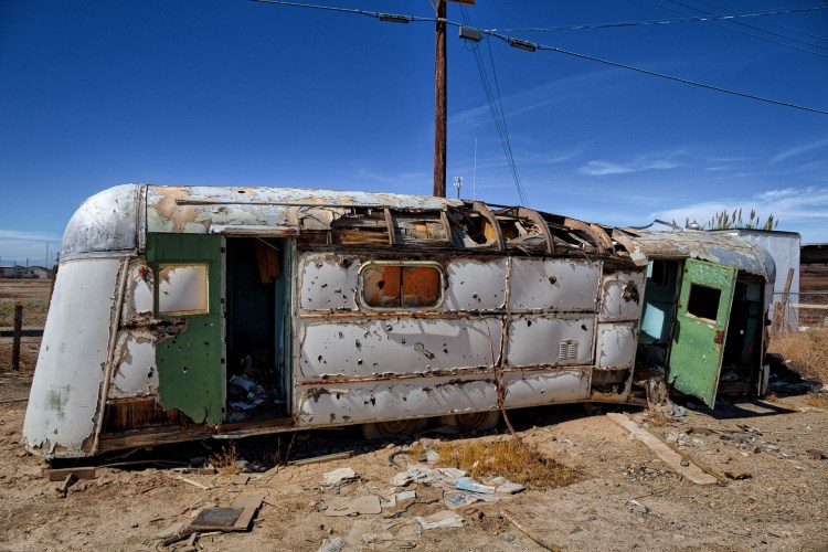 Once a great looking trailer, now a rusty remnant of better times. Seen in Bombay Beach.