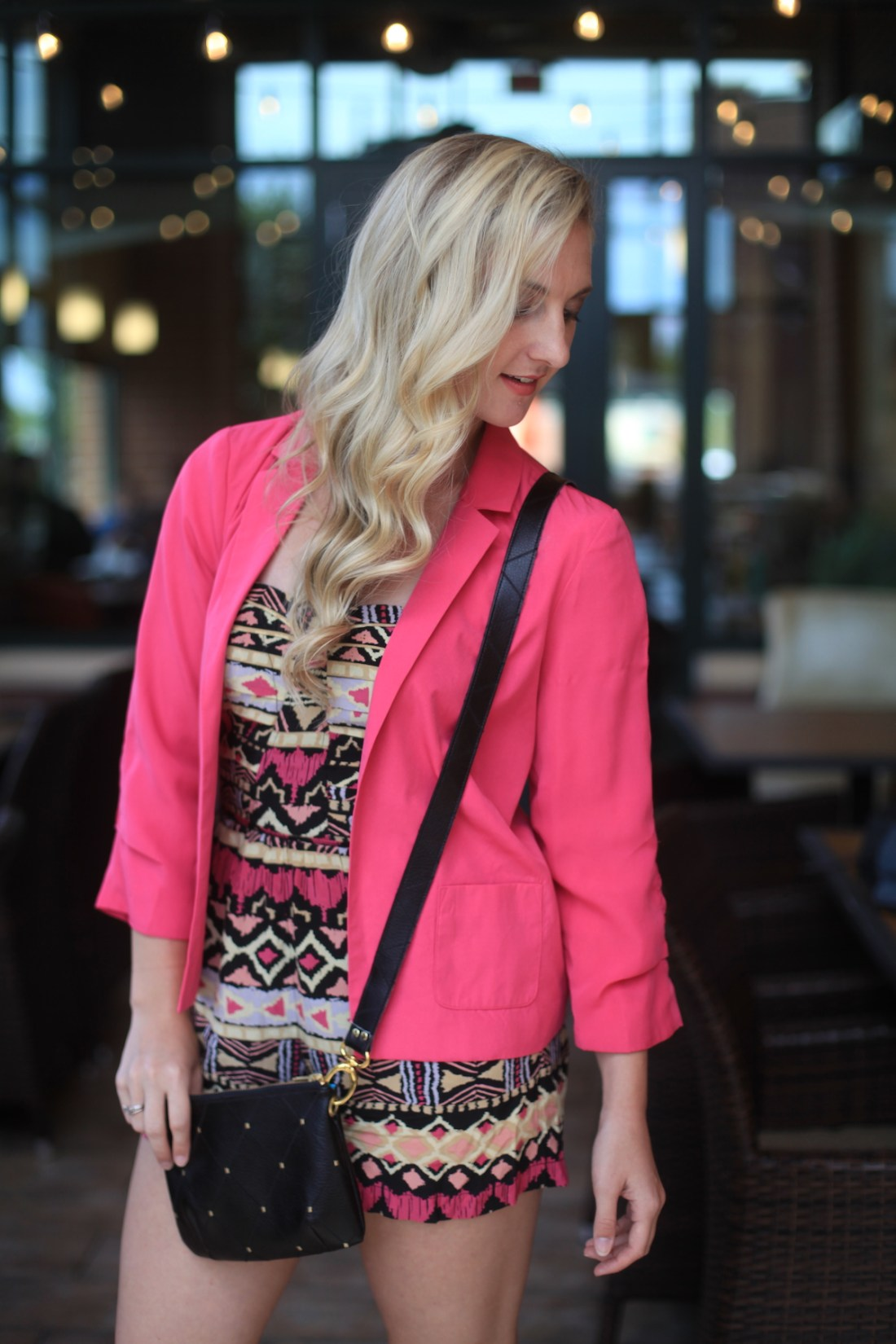 One Look + One Life Lesson // Daylin Skye Handbag, Pink Blazer, Aztec Romper Styled by Allyn Lewis