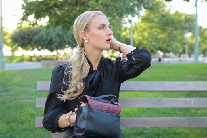 "A ""Clueless"" inspired New York Fashion Week outfit featuring UKIES Shoes, Carolee Jewelry, Escape Watches, and 88 Handbags."