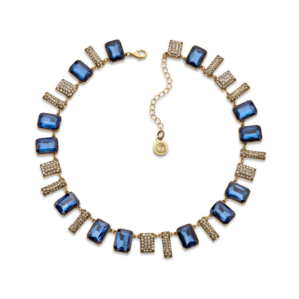 10 Things to Treat Yourself to This Month - 7 Charming Sisters Cut to the Chase Navy Blue Crystal Collar Necklace