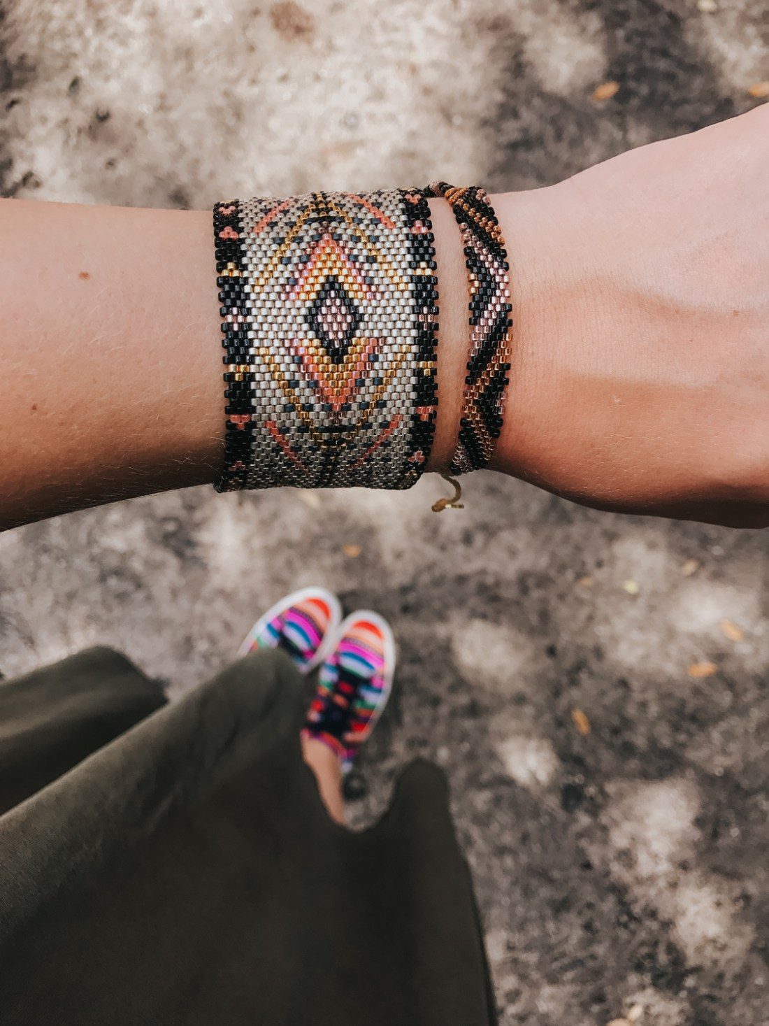Currently wearing: @Kutulakiss hand beaded bracelets and ISKAY colorful sneakers