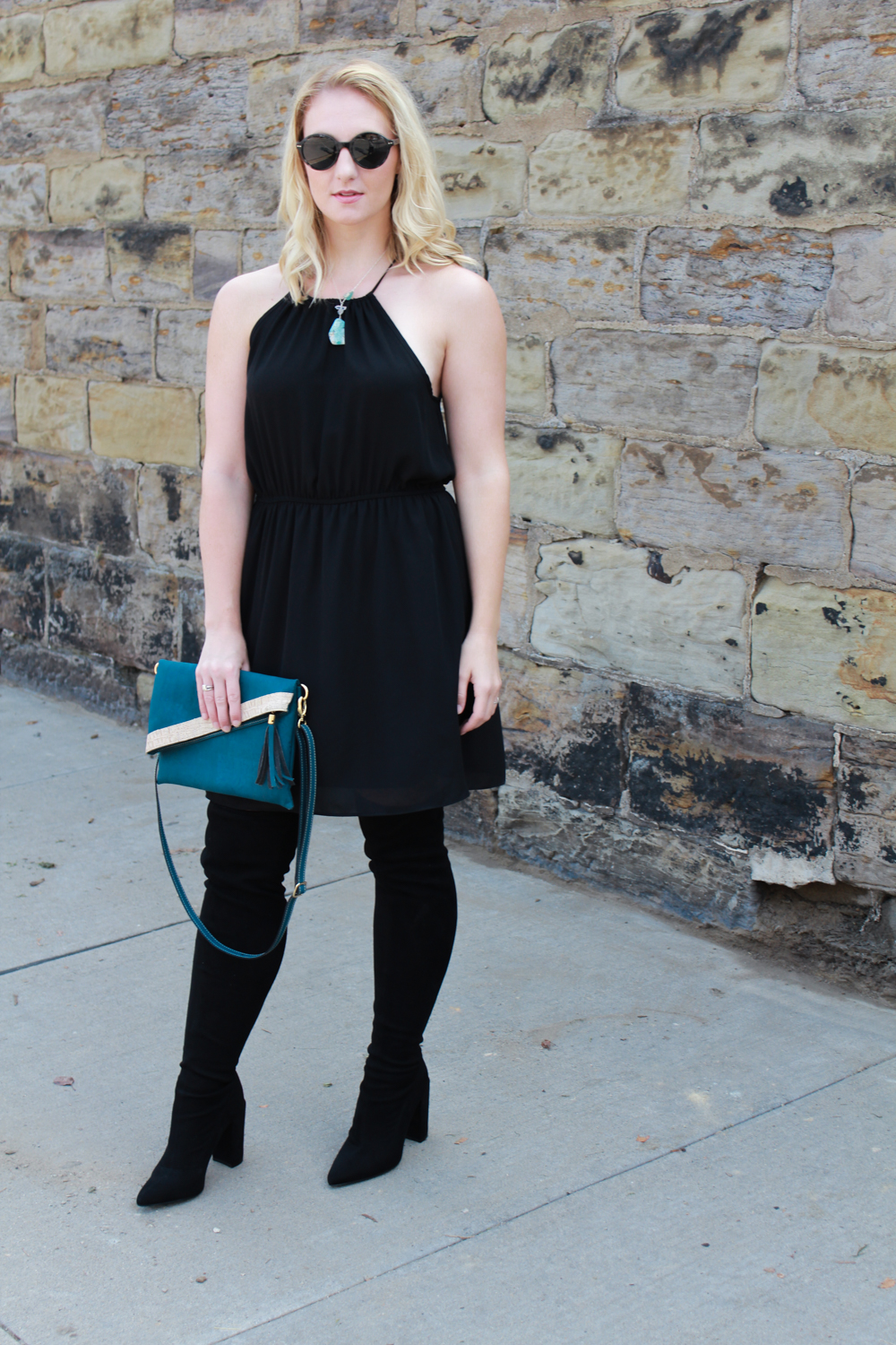 Little black dress outfit with thigh high black boots, Joree & Jane healing crystal necklace