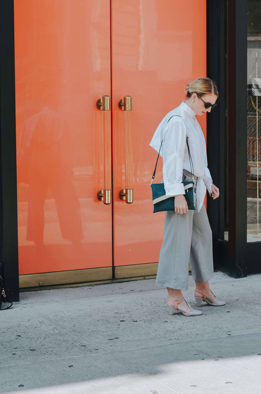 Narrow Arrow grey culottes and shirt, Public Sunglasses, Rok Cork cross body bag | fall fashion trends, wide leg pants, trending, new york fashion week, street style
