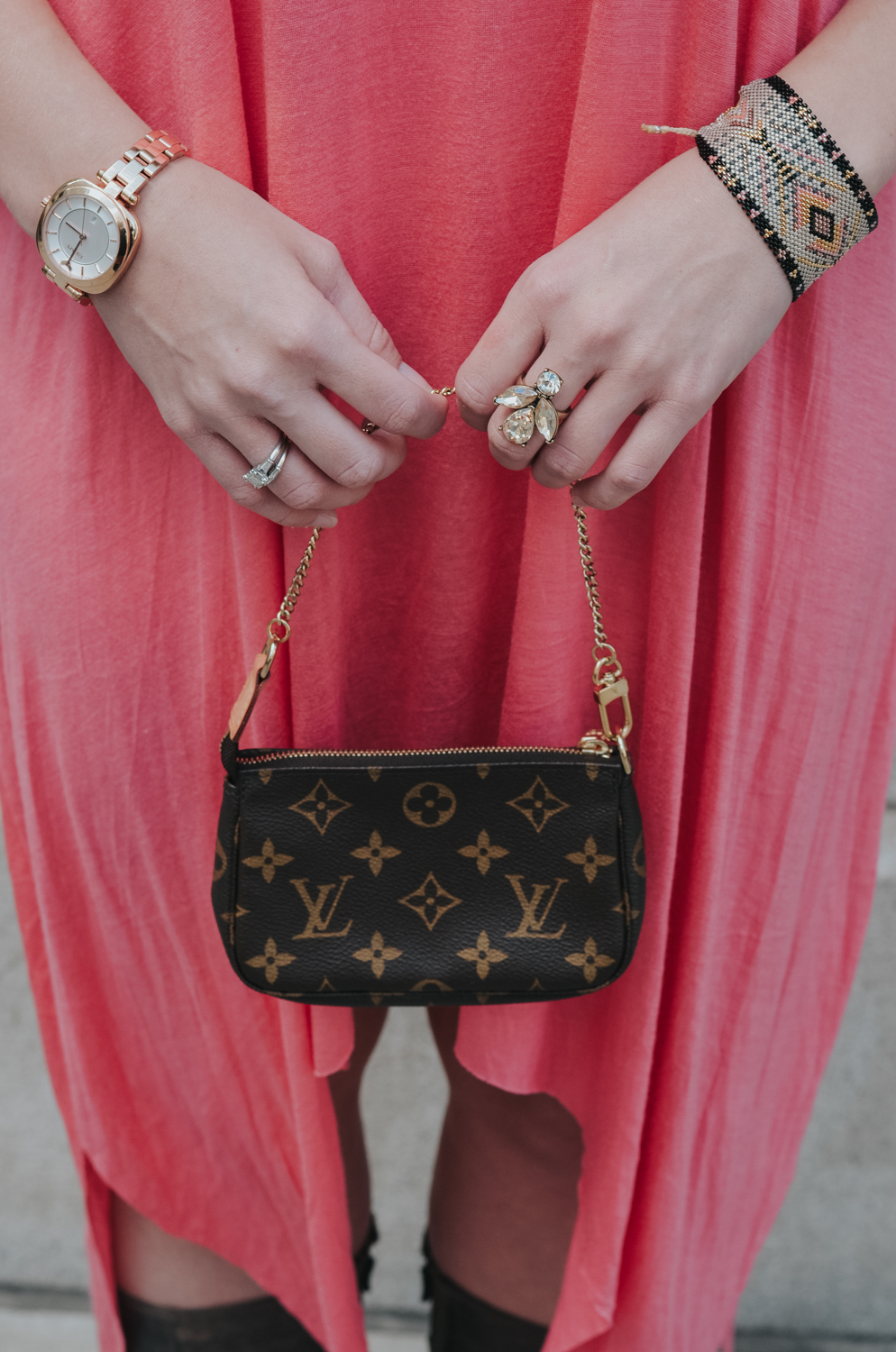 Accessories: Louis Vuitton Pochette Accessoire cloth handbag, Cocktail Ring from @7charmingsister, Wing Ding Cuff Bracelet from @KutulaKiss, Coachella Rose Tone Watch from @EscapeWatches