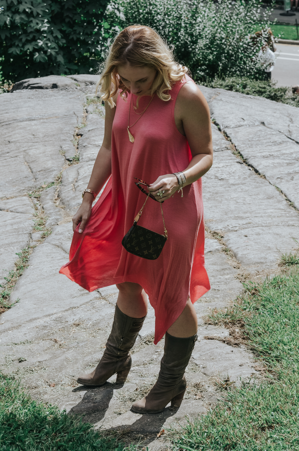 New York Fashion Week Look: Coral Maxi Dress and Distressed Boots - the perfect summer to fall transition look.