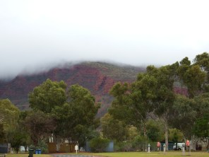 Mount Nameless under cloud cover - view from caravan park