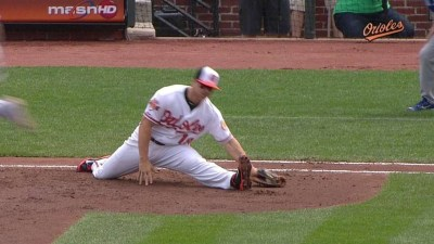 Softball Hitting Tips for Kids: Chris Davis stretching to a throw