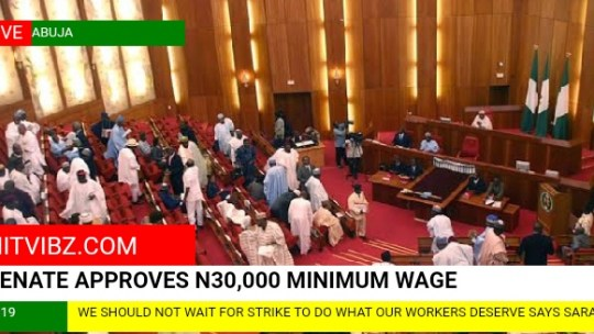 Senate approves N30,000 minimum wage