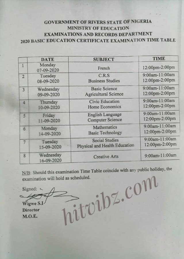 Rivers: 2020 BECE Timetable for JSS 3 Candidates [Junior WAEC]