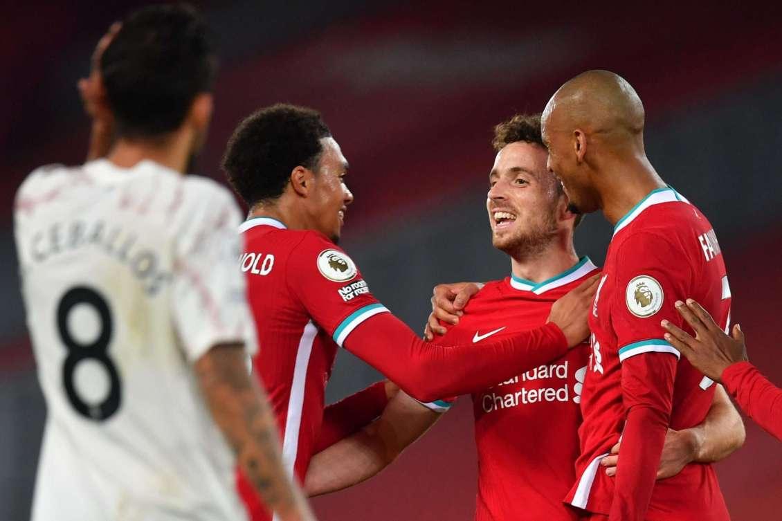 Diogo Jota celebrating goal against Arsenal