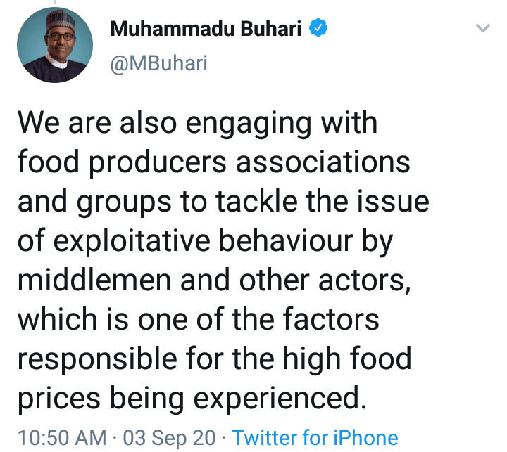 President Buhari tweet