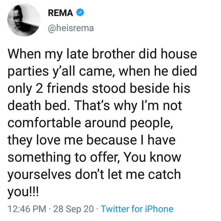 Rema tweet