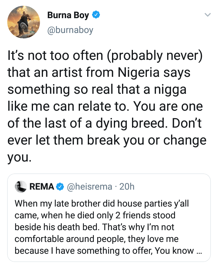 Burna Boy tweet to Rema