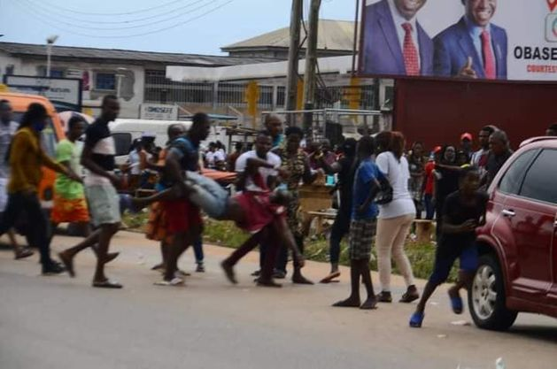 Edo 2020: Jubilating Obaseki's supporter falls from speeding vehicle