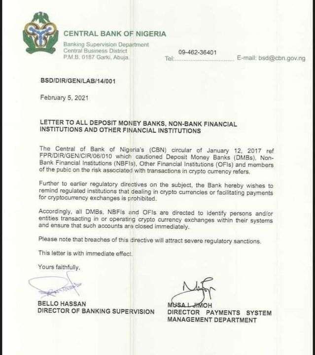 CBN ban on Crypto