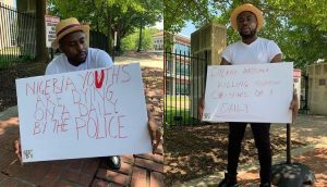 KADUNA KILLINGS: Samklef Stages One Man Protest At The Nigerian Embassy In Washington