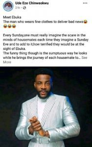 """Don't be like Ebuka who dresses fine to deliver bad news"" – Man advises"