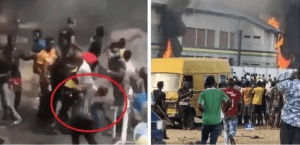 The Moment Hoodlums Beats Policeman Mercilessly In Lagos (Video)
