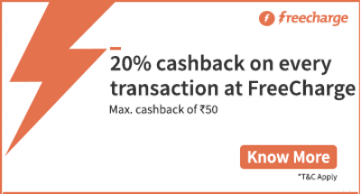 Expired] FreeCharge - Get 20% Cashback on Recharges & Bill