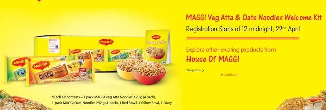 Welcome Kit of Maggi Veg Atta & Oats Noodles With Freebies