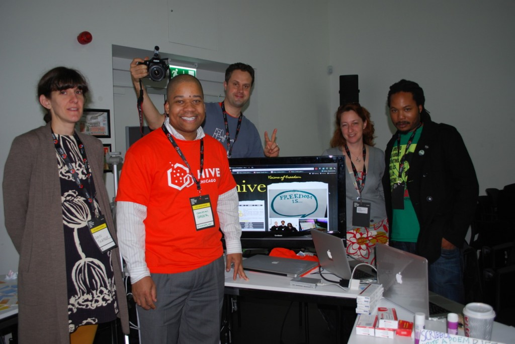 Jeff McCarter with some early members of Hive Chicago, from left to right, Robin Schnur (Art Institute Chicago), Christian Greer (Hive Staff), Jeff McCarter (Free Spirit Media), Ruth Schmidt and Brother Mike Hawkins (Digital Youth Network).