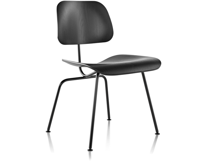 eames molded side chair black aluminium garden chairs plywood dining dcm hivemodern com by from herman miller
